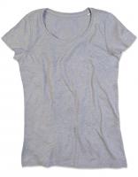 T-Shirt Rundhals Melange - ohne Print