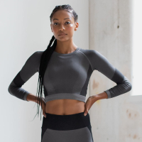 SPORTY Sports Top SEAMLESS /LS Crop Top / Fitness-Top - in 3 Farben