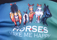 1er PACK / Mund-und Nasen-Maske - Modell HI STD DESIGN HAPPY HORSES- Sonderproduktion